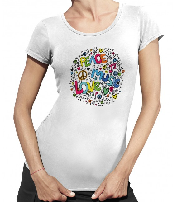 Tee-Shirt Femme Peace Music Love