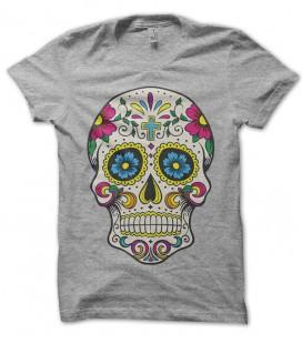 Tee Shirt Calavera Cruz Flower, Tête de mort Mexicaine