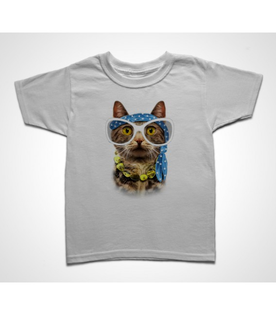 Tee shirt Enfant Funny Cat Hippie