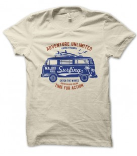Tee Shirt Adventure unlimited, Van Surfer Malibu Beach