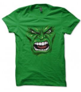 Tee Shirt GeeK Vert HULK face, Tete geant