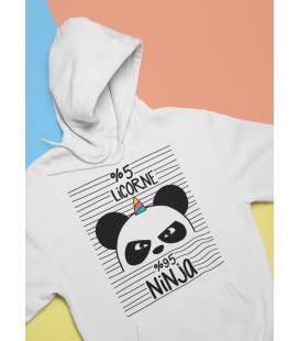 Sweat Shirt BLANC Capuche 5% licorne, 95% ninja, le Panda Ninja