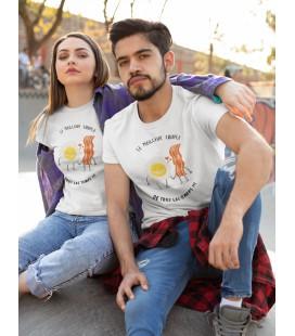 Tee Shirt Homme ou Femme Le couple meilleur couple ! Oeuf et Bacon
