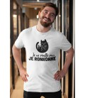 Tee Shirt Blanc Original pour homme Je ne ronfle pas, je Ronronne Chat