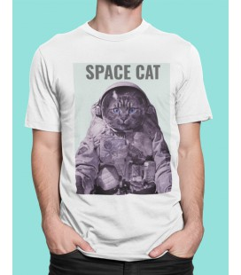 Tee Shirt blanc Space Cat