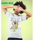 Tee Shirt blanc Cosmo Weed, Time to get High !