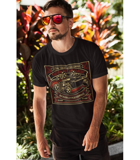 Tee Shirt Noir Custom Hot Rod Classic, Rockabilly Performance