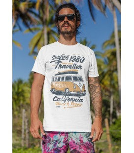 Tee Shirt Surfing 1980 Traveller, California Beach Party