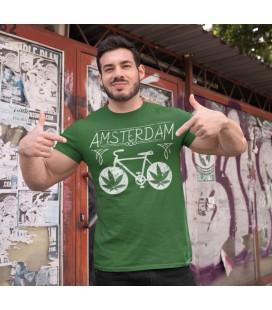Tee Shirt Amsterdan, le Vélo Weed