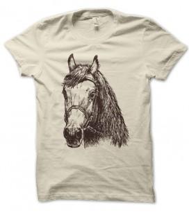 T-shirt tête de cheval au fusain