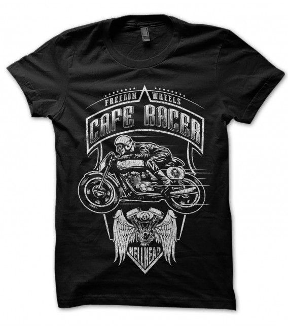 Tee Shirt Freedom Wheels, Cafe Racer by HellHead