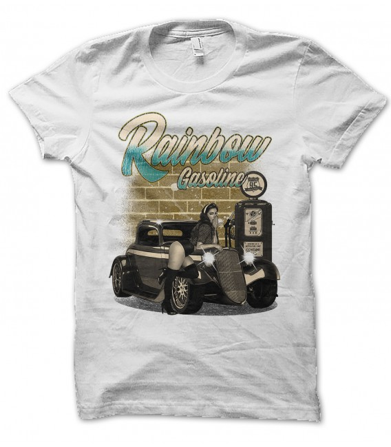Tee Shirt Rainbow Gasoline, Pin Up HotRod