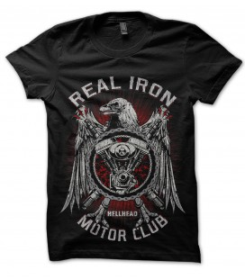 Tee Shirt Noir Real Iron, Motor Club by HellHead