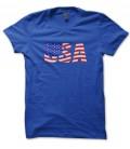 Tee Shirt USA style drapeau Vintage, 100% coton Bio