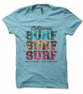 Tee Shirt California Surf Surf Surf West Coast Los Angeles, 100% coton Bio