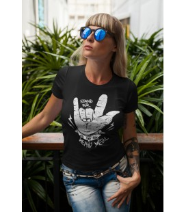 Tee Shirt Femme Stand For Heavy Metal, 100% coton Bio