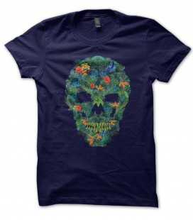 Tee Shirt Skull Flower Island Paradise, 100% coton Bio