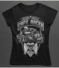 Tee Shirt Femme Freedom Wheels, Cafe Racer by HellHead 100% BIO