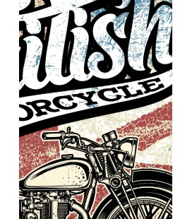 T-Shirt British Motorcycle, 100% coton Bio