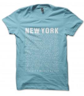 T-Shirt New York, the city never sleep 100% coton Bio