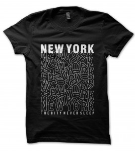 T-Shirt New York, the city never sleep 100% coton Bio