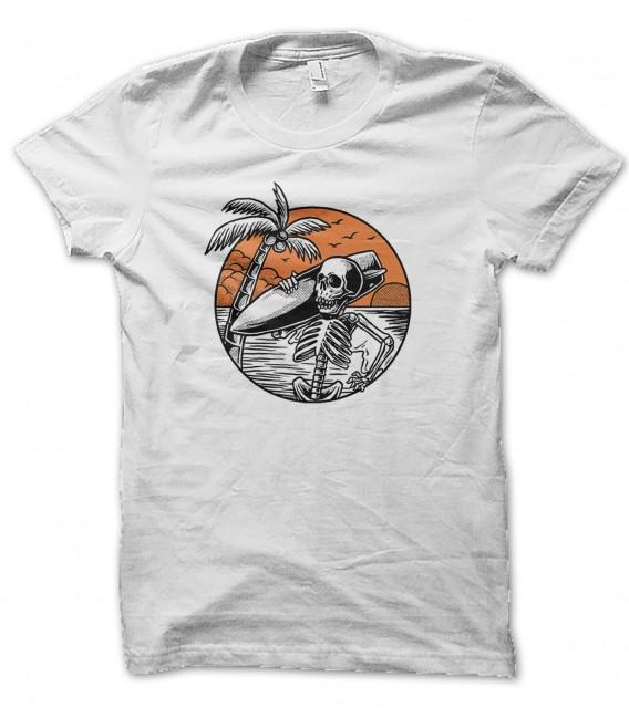 T-Shirt Surfer Skeleton on the beach, 100% coton Bio