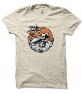 T-Shirt Surfer Skeleton on the beach, 100% coton Bio