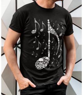 T-Shirt Skull Music, Note en Tête de Mort, 100% coton Bio