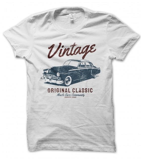T-Shirt Vintage Original Classic Muscle Car, 100% coton Bio