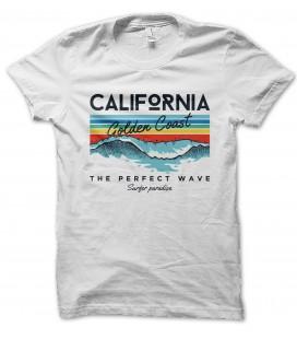 T-Shirt California Golden Coast, Perfect Wave, 100% coton BIO