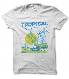 T-Shirt Tropical Vibes, vibrations Tropicales surf, 100% coton BIO