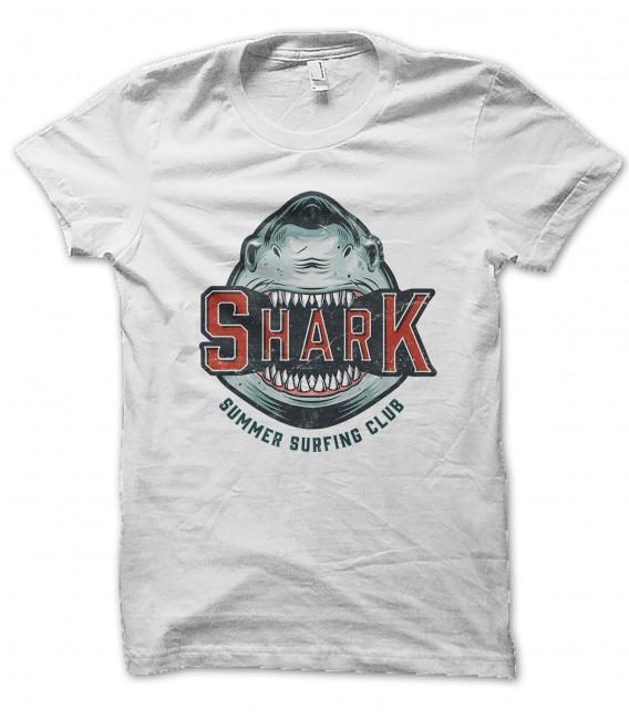 T-Shirt Shark Summer Surfing Club , 100% coton BIO