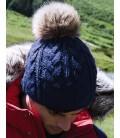 Bonnet Pom Pom, aspect tricoté main , Navy