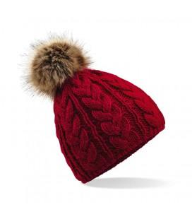 Bonnet Pom Pom, aspect tricoté main , Rouge