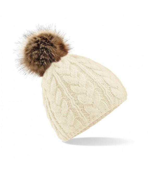 Bonnet Pom Pom, aspect tricoté main , Ecru