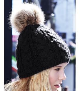 Bonnet Pom Pom, aspect tricoté main , Noir