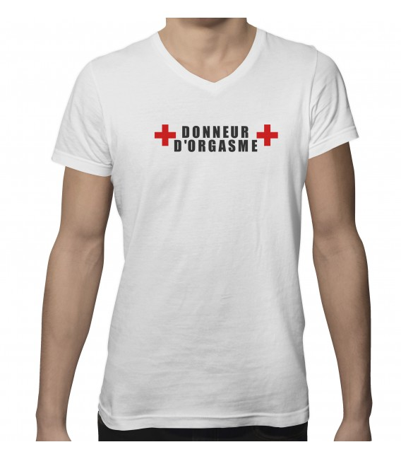 "T-shirt col V "" Donneur d'orgasme """