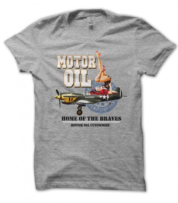 T-shirt Motor Oil, Marines Home of the Brave, Pin Up