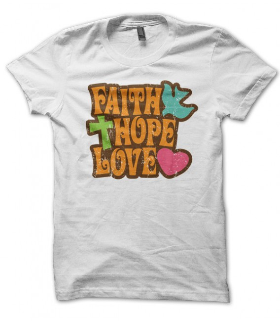 T-shirt vintage Hippie 70's Faith, Hope, Love