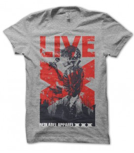 T-shirt Red Apparel, Live Skull Rock 'n Roll